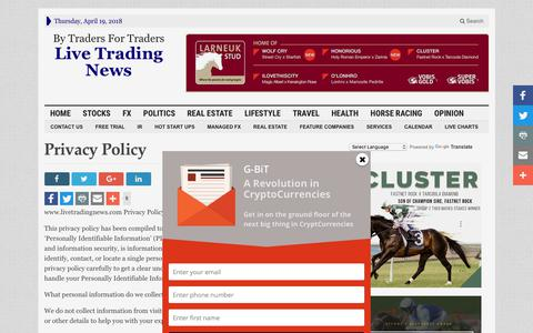 Screenshot of Privacy Page livetradingnews.com - Privacy Policy - Live Trading News - captured April 20, 2018