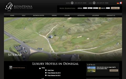 Screenshot of Site Map Page rosapenna.ie - Hotel in Donegal, Donegal Luxury Hotels, Donegal Hotels, Luxury Hotels in Donegal, Luxury Golf Resort Donegal - captured Aug. 14, 2015
