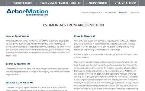 Screenshot of Testimonials Page arbormotion.com - Testimonials | ArborMotion - captured May 30, 2017