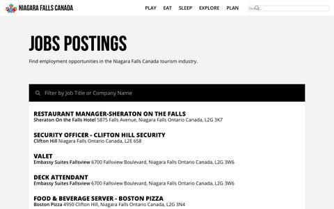 Screenshot of Jobs Page niagarafallstourism.com - Jobs Postings | Niagara Falls Canada - captured Sept. 20, 2018