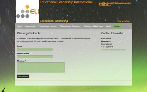 Screenshot of Contact Page eduleadinternational.com - Educational Leadership International - Contact - captured Jan. 26, 2016