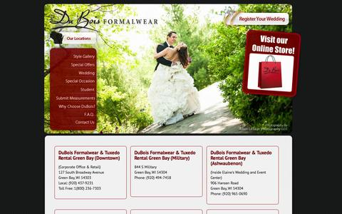 """Screenshot of Locations Page duboisformalwear.com - DuBois Formalwear, The Area's #1 Tuxedo Provider """"When it's got to be right"""" - captured Sept. 30, 2014"""
