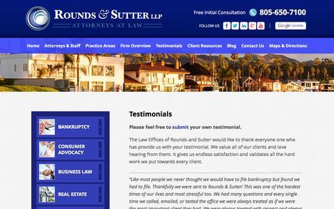 Screenshot of Testimonials Page roundsandsutter.com - Testimonials | Rounds And Sutter - captured Dec. 3, 2016