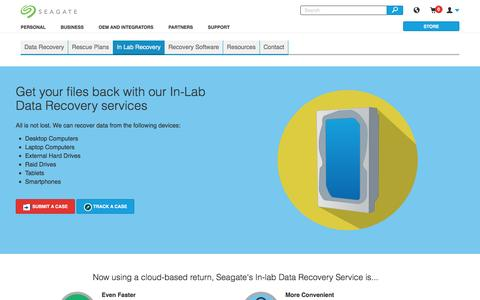 Screenshot of seagate.com - In-lab recovery: Reliable and affordable data recovery services when you need it | Seagate - captured March 19, 2016
