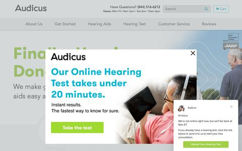 Screenshot of Home Page audicus.com - Award-Winning Hearing Aids and Expert Support in 3 Easy Steps   Audicus - captured Aug. 17, 2018