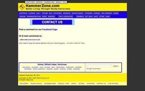 Screenshot of Contact Page hammerzone.com - HammerZone.com -- How To Contact Us - captured Nov. 4, 2014