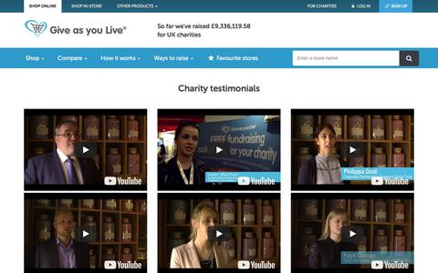 Screenshot of Testimonials Page giveasyoulive.com - Testimonials | Give as you Live - captured March 19, 2018
