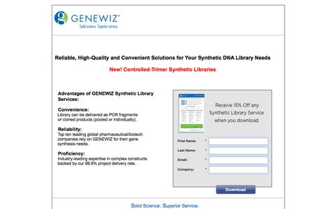 Screenshot of Landing Page genewiz.com - Synthetic DNA Library Services - captured Aug. 13, 2016