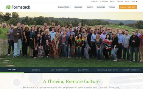 Screenshot of Jobs Page formstack.com - Formstack Careers | Remote & Indianapolis, IN Positions - captured March 10, 2016