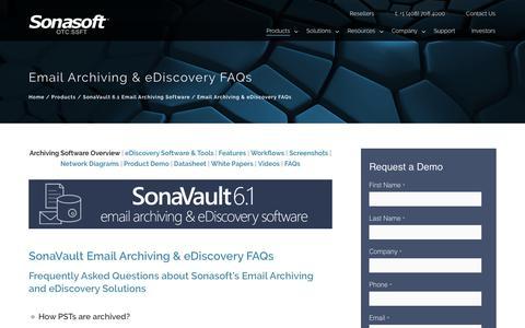 Screenshot of FAQ Page sonasoft.com - Email Archiving & eDiscovery FAQs – Email Archiving & eDiscovery Solutions - captured Sept. 23, 2018