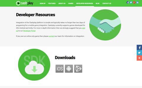 Screenshot of Developers Page cashplay.co - Developer Resources | Game Monetization | Skill Gaming | Mobile Game Monetization - captured Sept. 23, 2014