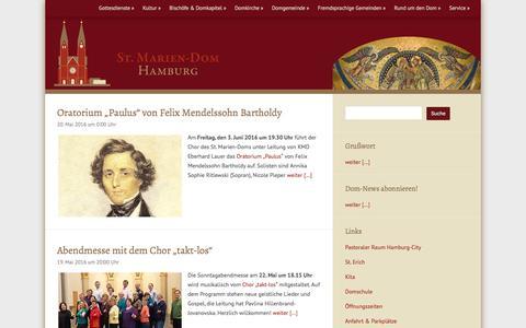 Screenshot of Home Page mariendomhamburg.de - Mariendom Hamburg – Kathedralkirche des Erzbistums Hamburg - captured May 21, 2016
