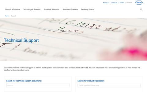 Screenshot of Support Page roche.com - Support - captured Nov. 3, 2017