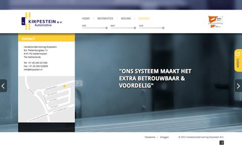 Screenshot of Contact Page kirpestein.nl - Kirpestein Automotive > Contact - captured Oct. 1, 2014