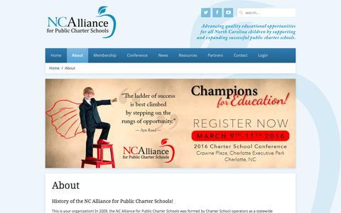 Screenshot of About Page ncchartersall.org - NC Alliance for Public Charter Schools - About - captured Feb. 15, 2016