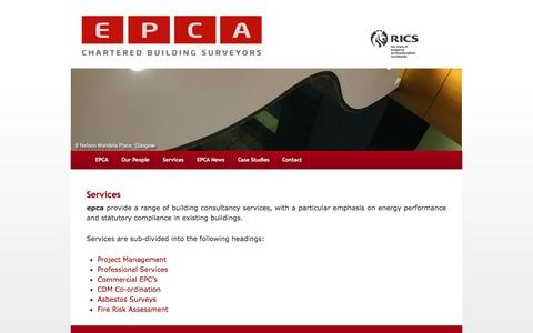 Screenshot of Services Page epca.co.uk - Services - EPCA Property Consultancy in Glasgow Scotland - captured Oct. 1, 2014