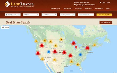 Screenshot of Maps & Directions Page landleader.com - Real Estate Search | LandLeader - captured July 15, 2018
