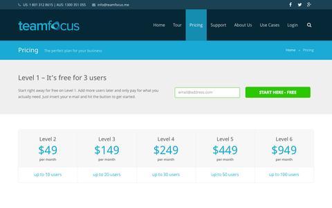 Screenshot of Pricing Page teamfocus.me - Pricing - teamfocus | project team management | web-based task management - captured Oct. 26, 2014