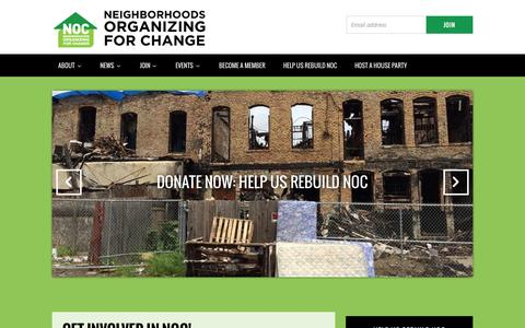 Screenshot of Home Page mnnoc.org - Neighborhoods Organizing for Change - captured Oct. 19, 2015