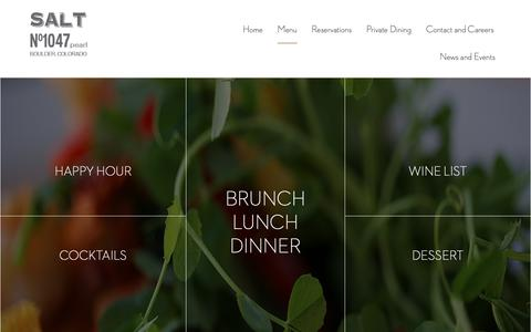Screenshot of Menu Page saltthebistro.com - Menu | - captured Oct. 1, 2018