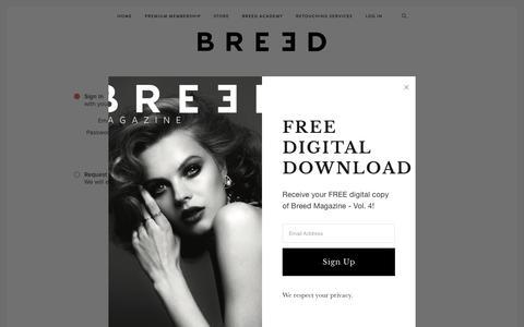 Screenshot of Login Page jointhebreed.com - Member Login Page — BREED - captured Nov. 7, 2018