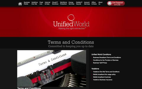 Screenshot of Terms Page unifiedworld.co.uk - Unified World - Unified World Communications - Terms and Conditions - captured Oct. 9, 2014