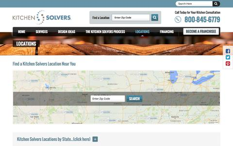 Screenshot of Locations Page kitchensolvers.com - Kitchen Solvers Locations - captured Nov. 27, 2016