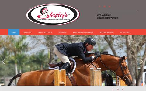 Screenshot of Home Page shapleys.com - Shapley's Superior Equine Grooming Products - captured Feb. 28, 2016