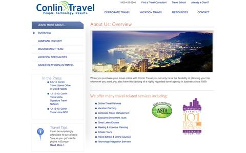 Screenshot of About Page conlintravel.com - Providing personalized, professional, and highly-regarded travel services since 1959 - Conlin Travel - captured Sept. 30, 2014