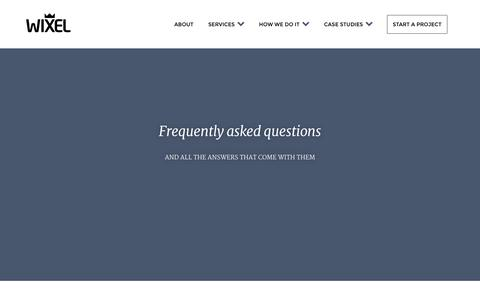 Screenshot of FAQ Page wixelhq.com - Wixel | Web and Mobile Application Development - captured Oct. 26, 2014