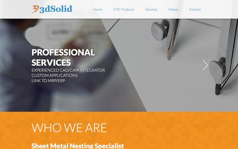 Screenshot of Home Page 3dsolid.ca - Sheet Metal Nesting | Link to SolidWorks or Inventor | 3dSolid - captured Feb. 24, 2016