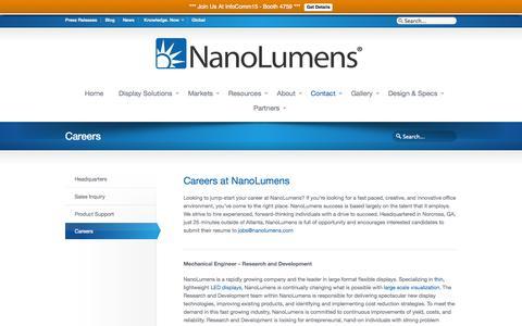 Screenshot of Jobs Page nanolumens.com - Careers NanoLumens - captured June 16, 2015