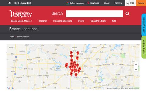 Screenshot of Locations Page tulsalibrary.org - Branch Locations | Tulsa Library | - captured Nov. 14, 2018