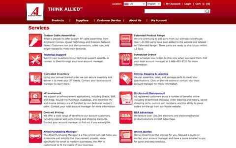 Screenshot of Services Page alliedelec.com - Allied Electronics - captured Nov. 25, 2015