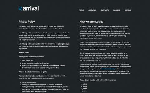 Screenshot of Privacy Page arrivaldesign.co.uk - web design hull, design agency hull, website design hull, web design agency hull - captured Sept. 30, 2014