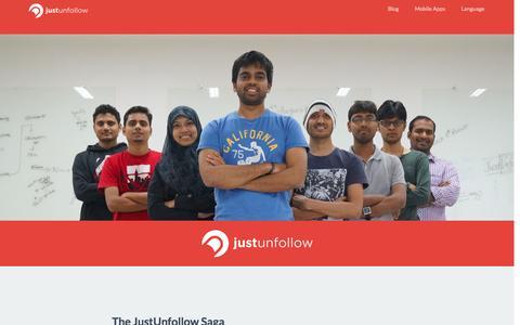 Screenshot of About Page justunfollow.com - About JustUnfollow - captured Sept. 19, 2014