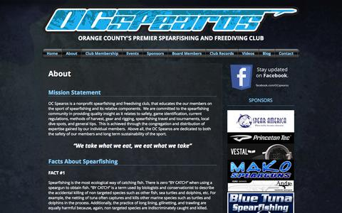 Screenshot of About Page ocspearos.org - About | OC Spearos - captured Sept. 30, 2014