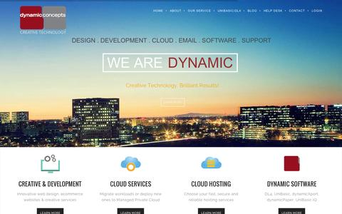 Screenshot of Home Page dynamic.com - Cloud Services | Cloud Hosting | Creative Web Development | Orange County, CA - captured Aug. 7, 2015