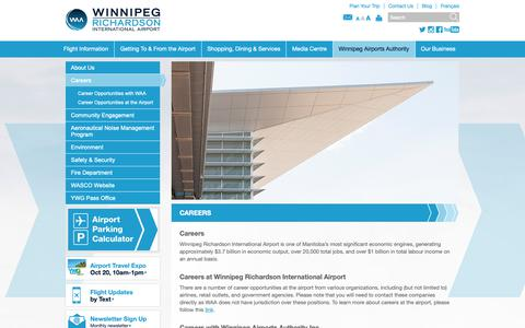 Screenshot of Jobs Page waa.ca - Careers | Winnipeg James Armstrong Richardson International Airport - captured Oct. 18, 2018