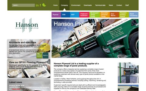 Screenshot of About Page hanson-plywood.co.uk - Hanson Plywood based in Halifax with a complete range of panel product - captured Jan. 25, 2016
