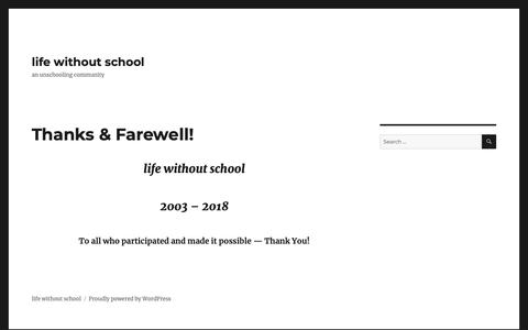 Screenshot of Home Page lifewithoutschool.org - life without school – an unschooling community - captured Dec. 8, 2018