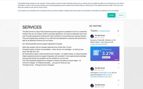 Screenshot of Services Page theredcorner.co.uk - Services | The Red Corner - captured Oct. 20, 2018