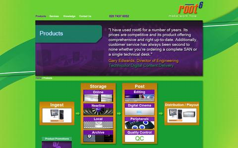 Screenshot of Products Page root6.com - root6 Product Sales - captured Oct. 1, 2014