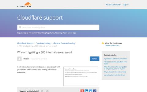 Screenshot of Support Page cloudflare.com - Why am I getting a 500 internal server error? – Cloudflare Support - captured Oct. 11, 2017