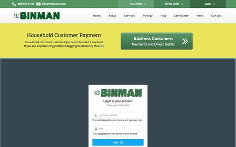 Screenshot of Login Page mrbinman.com captured Sept. 20, 2018