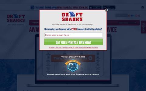 Screenshot of Home Page draftsharks.com - Fantasy Football Advice   Custom Fantasy Football Rankings   Draft Sharks - captured Jan. 17, 2016