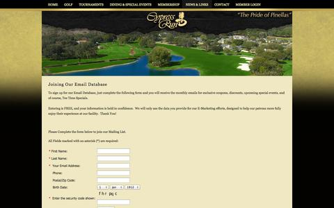 Screenshot of Signup Page cypressrun.com - Join Our Email List! - captured Oct. 3, 2014