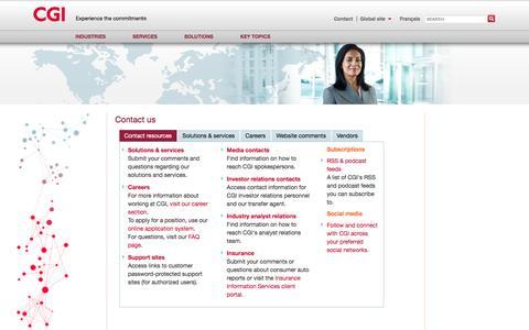 Screenshot of Contact Page cgi.com - Contact us - resources | CGI.com - captured Nov. 30, 2016