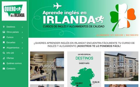 Screenshot of Home Page quieroirairlanda.com - Cursos de inglés y alojamientos en Irlanda - captured Feb. 12, 2018