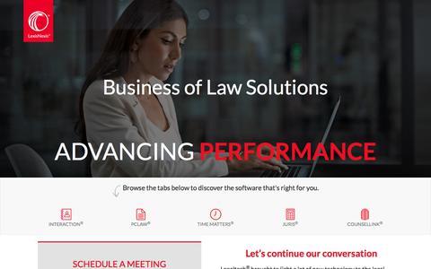 Screenshot of Landing Page lexisnexis.com - LexisNexis at LegalTech NYC - captured April 25, 2018